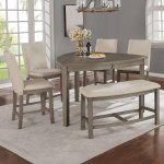 Best Quality Furniture 6 Piece Counter Height Dining Set With Upholstered Counter Height Dining Chairs And Bench Overstock 30893908