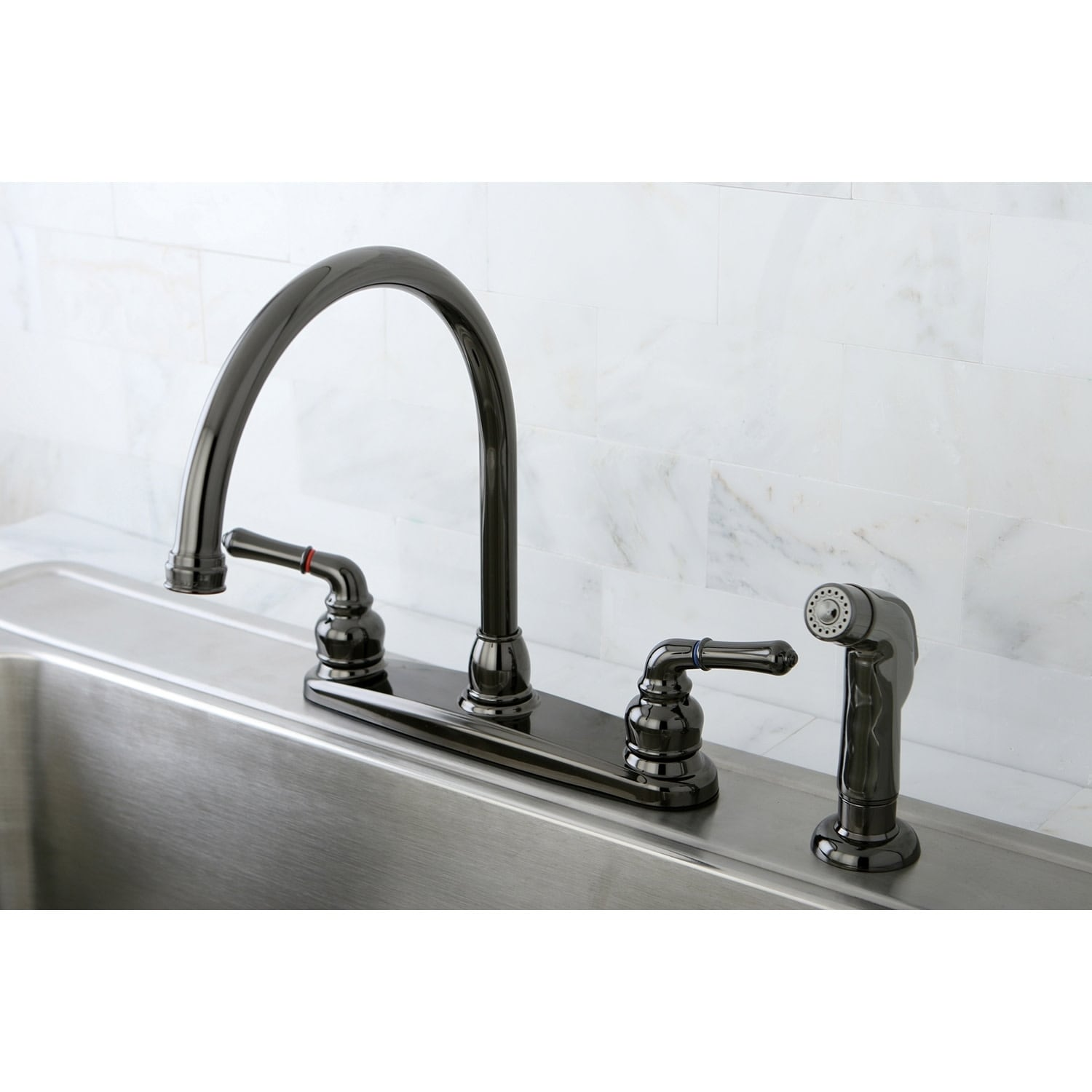 water onyx centerset kitchen faucet in black stainless steel