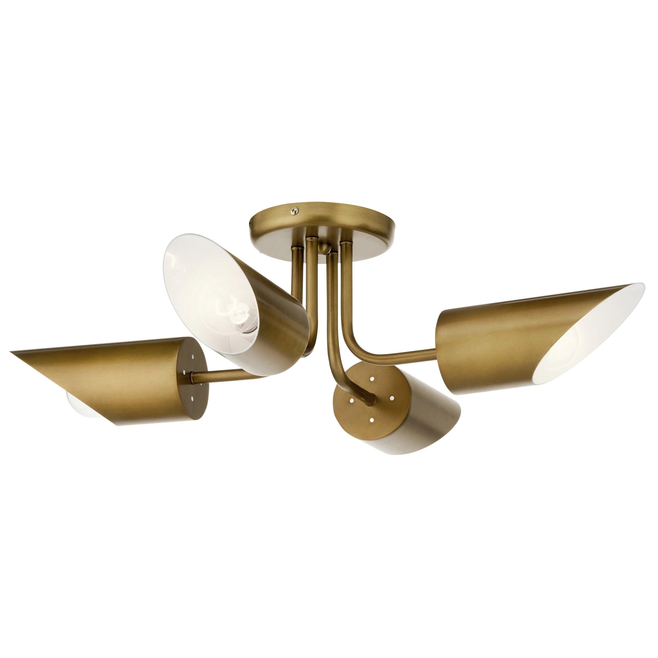 kichler lighting trentino 4 light semi flush mount natural brass
