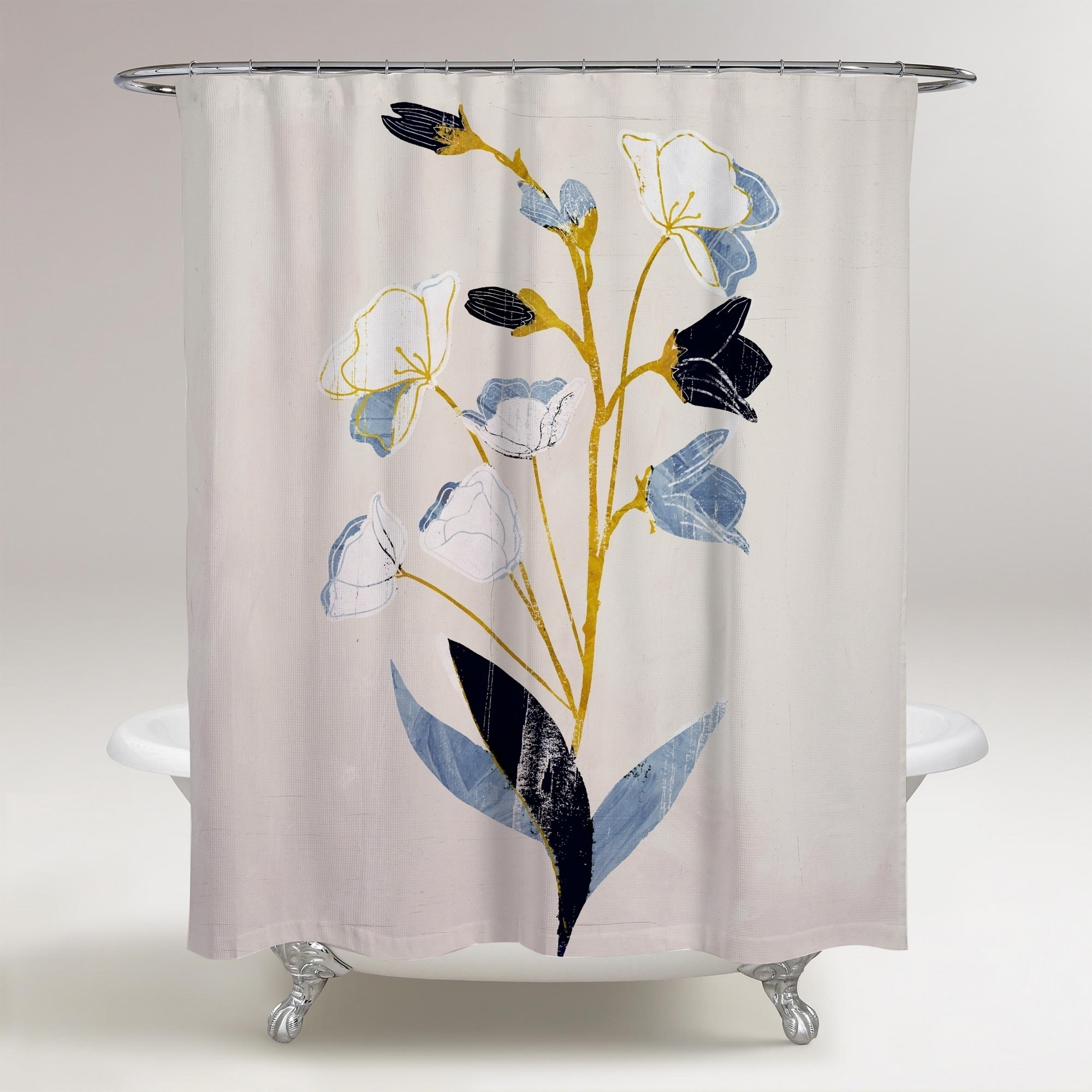 oliver gal white flowers with ochre floral and botanical decorative shower curtain florals blue gold