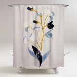 Shop Black Friday Deals On Oliver Gal White Flowers With Ochre Floral And Botanical Decorative Shower Curtain Florals Blue Gold Overstock 31090470