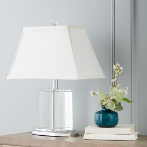 Silver Orchid Crystal Oval Table Lamp
