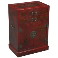 Hand-painted Oriental Red Leather Wine Bar Cabinet ...