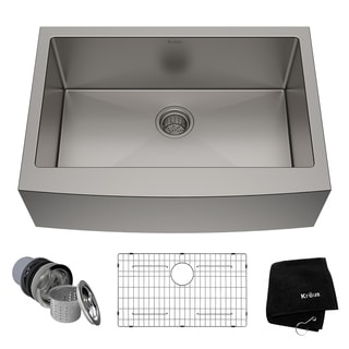 Kraus Inch Farmhouse Single Bowl Stainless Steel Kitchen Sink With  Noisedefend Soundproofing