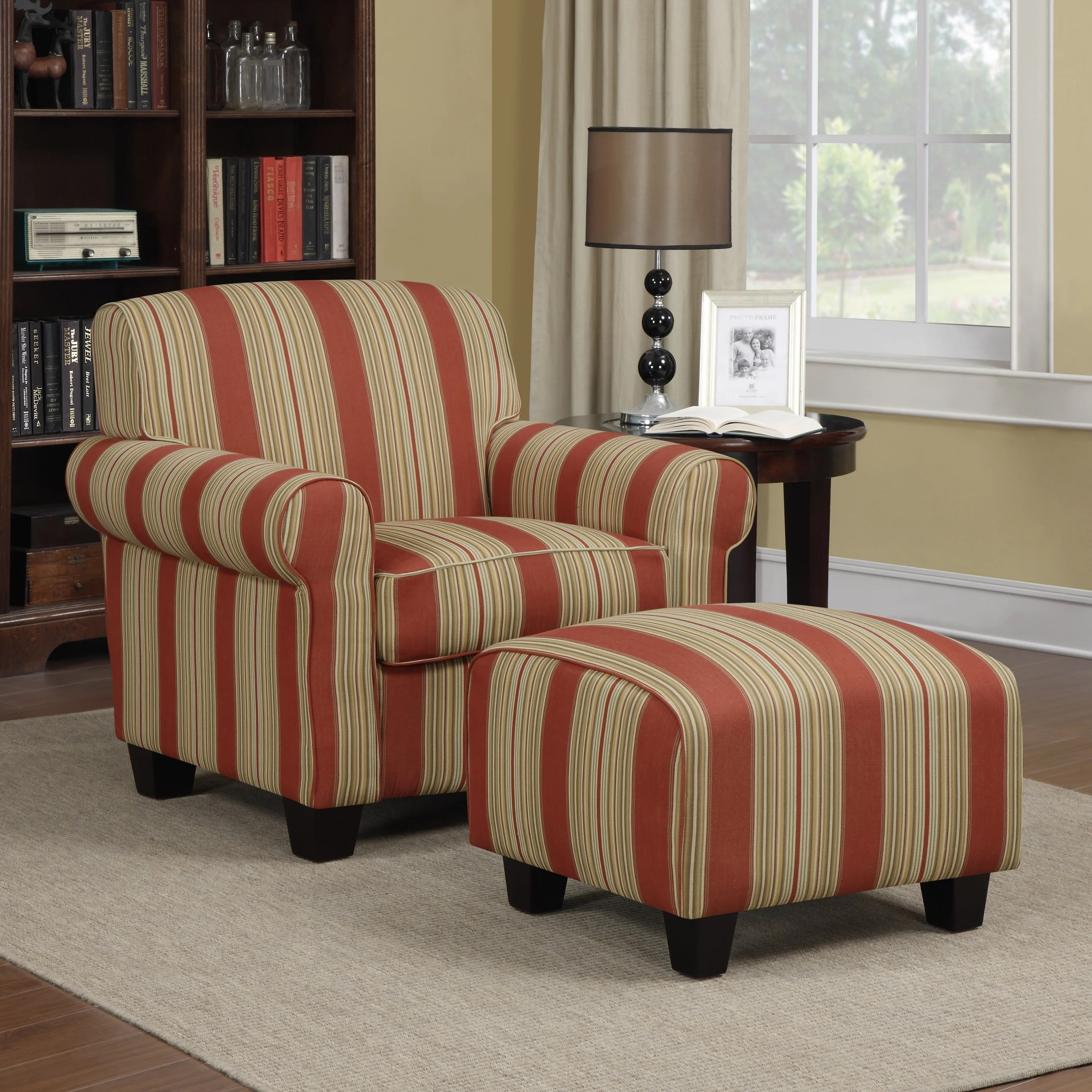 overstock arm chair swivel dublin shop handy living mira red stripe and ottoman free shipping on orders over 45 com 3406667