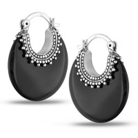 Miadora Sterling Silver Black Onyx Earrings