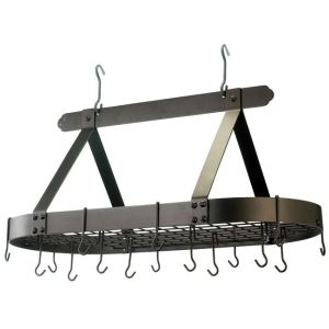 Old Dutch Oval Hanging Pot Rack with Grid & 16 Hooks