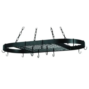 Old Dutch Matte Black Oval Hanging Pot Rack & 12 Hooks