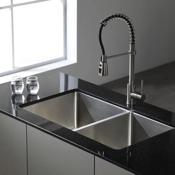 overstock kitchen sinks costco small appliances kraus 33 inch undermount 50/50 double bowl 16-gauge ...
