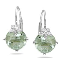 Miadora Miadora 10k Gold Diamond and Green Amethyst