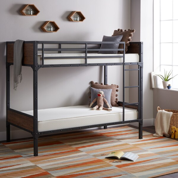 Select Luxury Flippable 6 Inch White Bunk Bed Twin Size Foam Mattress