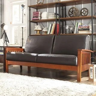 tribecca home eland black bonded leather sofa set one cushion uk hills mission bi-cast faux