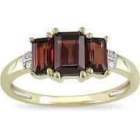 Shop Miadora 10k Yellow Gold Garnet and Diamond 3-stone ...