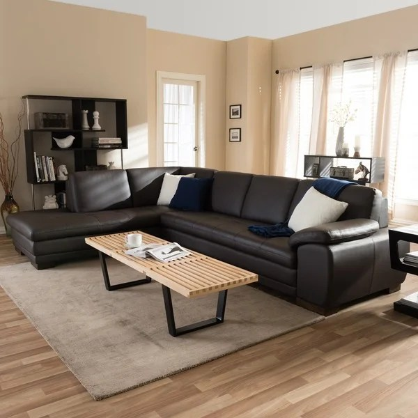 leather sofa deals free shipping 3 seater and chair shop angela dark brown 2-piece sectional ...