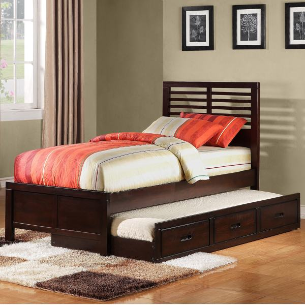 Full Size Platform Bed with Trundle