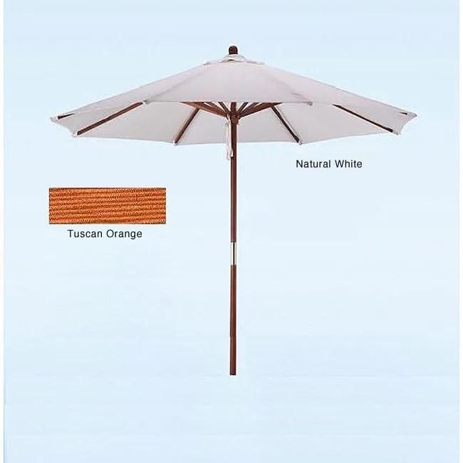 hard wood white tuscan orange patio umbrella