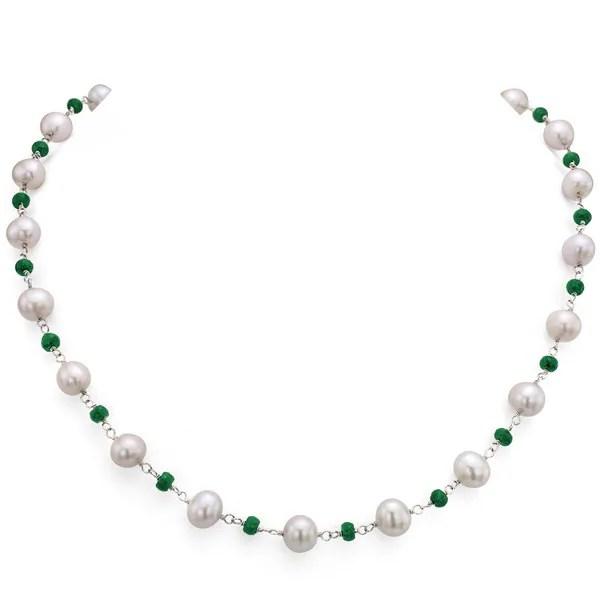 Shop DaVonna Silver White FW Pearl and Green Emerald
