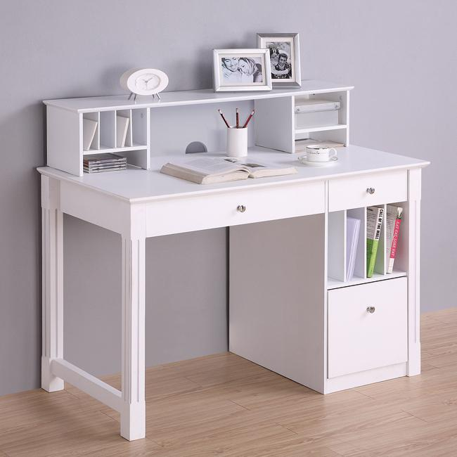 Deluxe White Wood Computer Desk with Hutch  Overstock