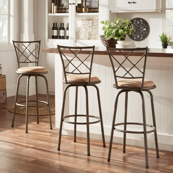 kitchen stools with backs small tables ikea shop avalon quarter cross adjustable swivel high back set of 3 by inspire