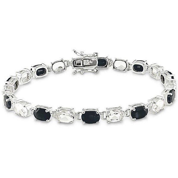 Shop Miadora Sterling Silver Black Sapphire and White