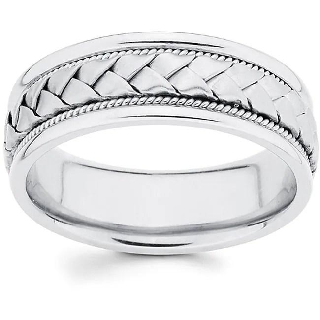 14k white gold men x27 s hand braided comfort fit wedding band
