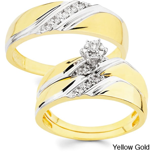 Shop 10k Gold 110ct TDW His And Her Wedding Ring Set H I