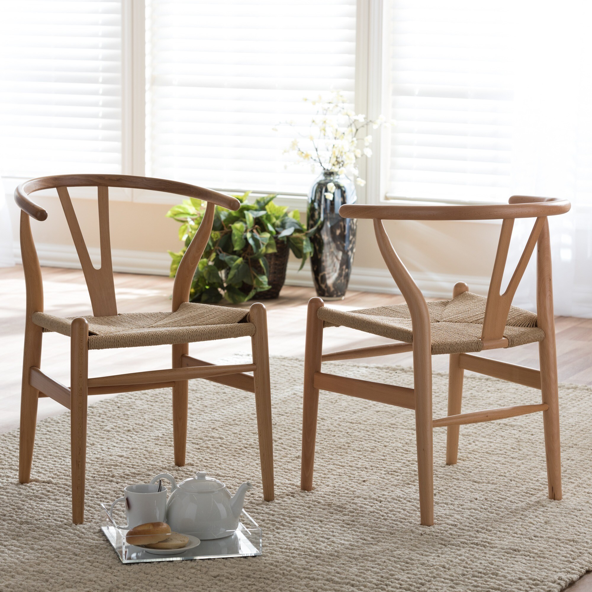Wishbone Dining Chair Shop Baxton Studio Brown Wood Dining Chair With Hemp Seat Free