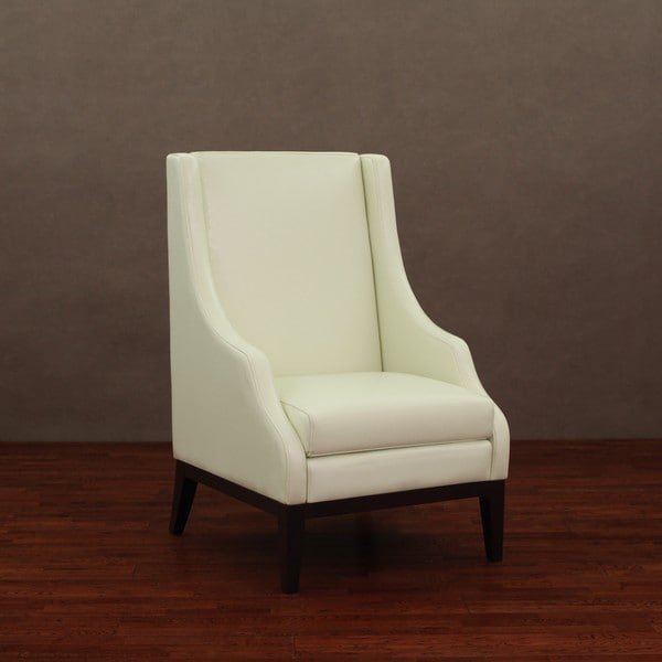 Shop Lummi Ivory Leather High Back Chair Free Shipping
