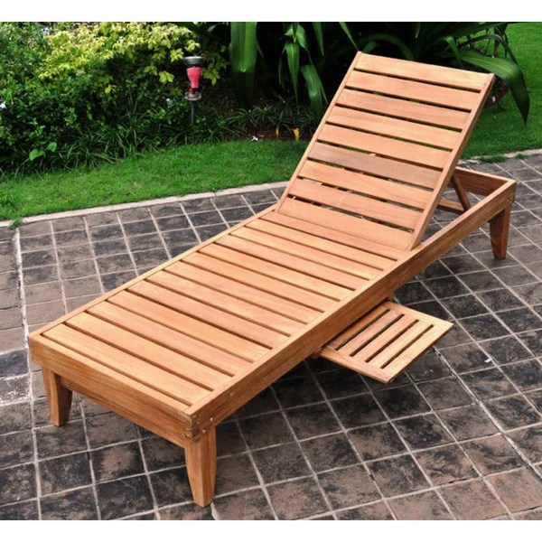 Deluxe Teak Chaise Lounge With Tray