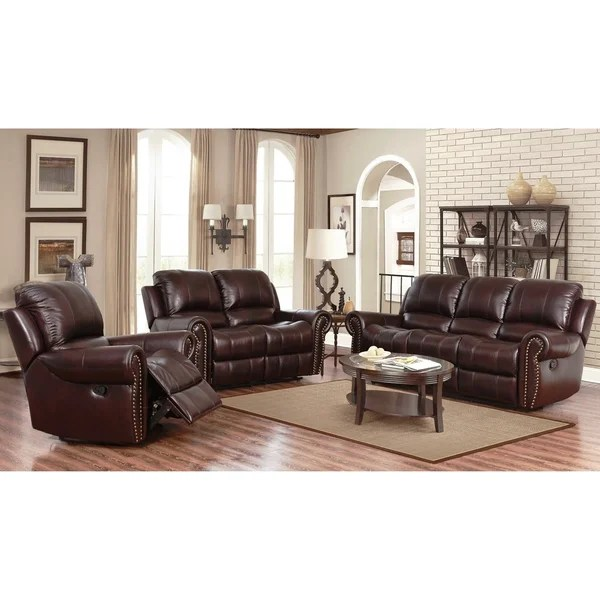 living room set leather decorating a with no fireplace shop abbyson broadway top grain reclining 3 piece