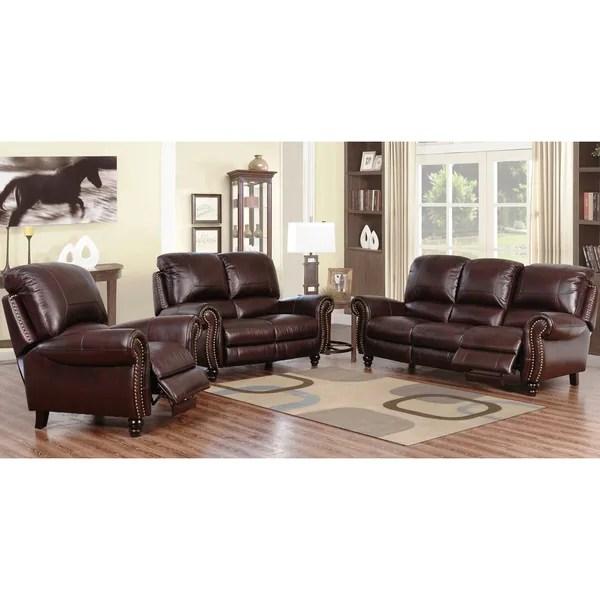 reclining leather living room furniture sets valances shop abbyson madison top grain pushback sofa set