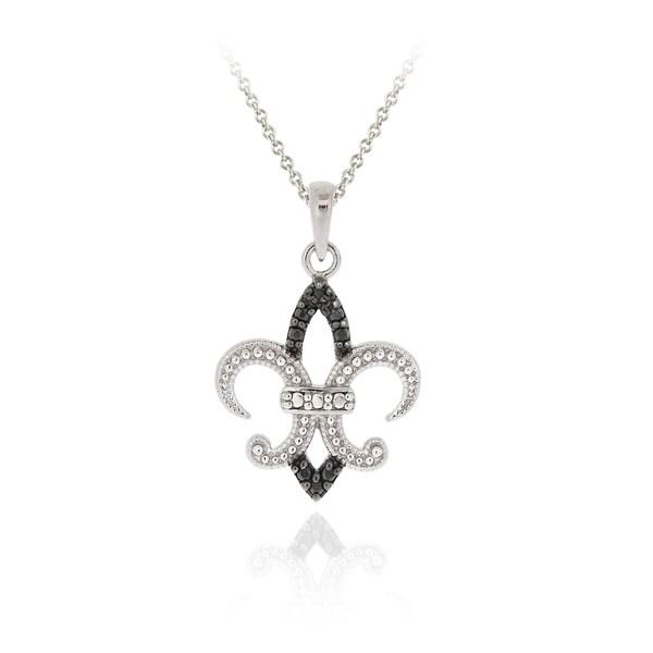 Shop DB Designs Sterling Silver Black Diamond Accent Fleur