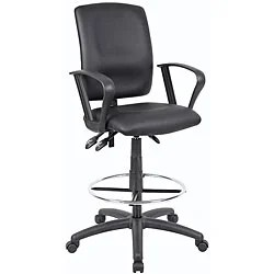 Boss Black LeatherPlus Multifunctional Drafting Stool with