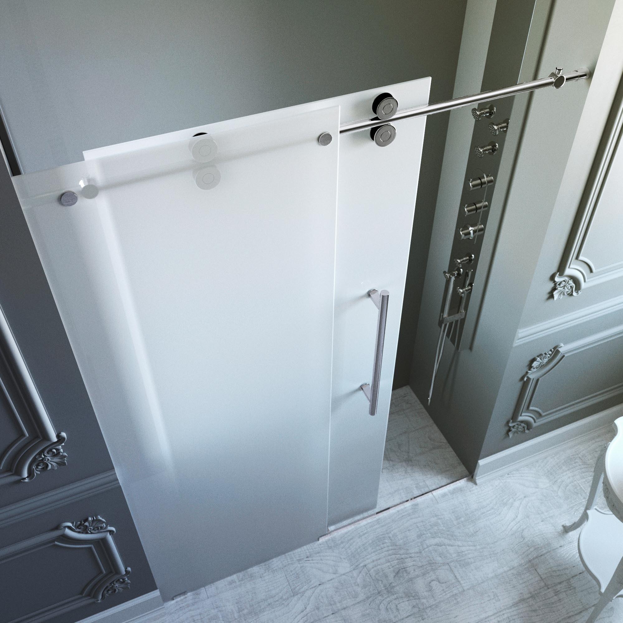 Vigo 72 Inch Frameless Frosted Glass Sliding Shower Door