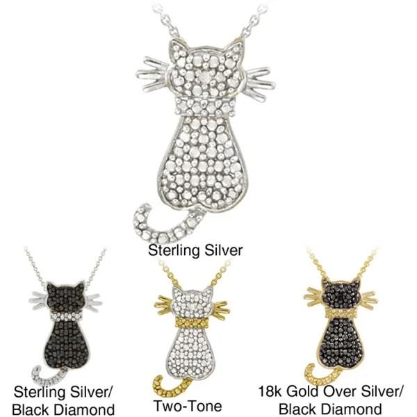 Shop DB Designs Sterling Silver Black Diamond Accent Cat