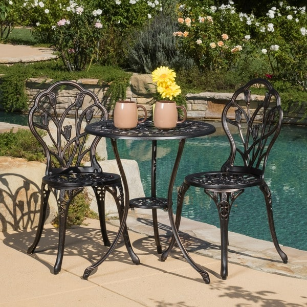 outdoor bistro table and chairs set chair with lumbar support for office shop nassau cast aluminum furniture by christopher knight home