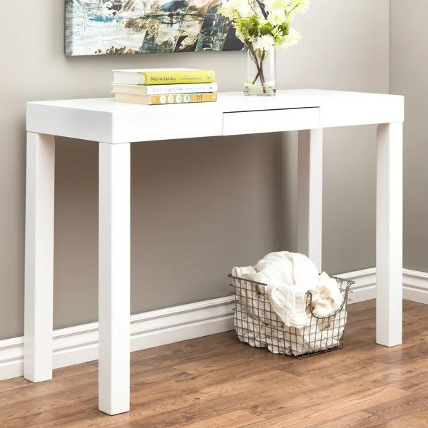 Shop Clay Alder Home Lachlan Glossy White Sofa Table  Free Shipping Today  Overstockcom  4850189