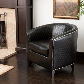 overstock com chairs antique french dining table and buy living room clearance liquidation online at christopher knight home mia black bonded leather quilted club chair