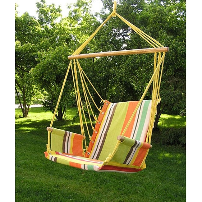 hanging chair wood office upholstery fabric shop deluxe rainbow hammock sky swing free shipping today overstock com 4877476