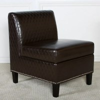 Felice Brown Bonded Leather Armless Club Chair - Free ...
