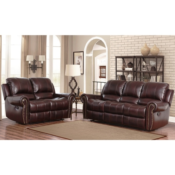 cheap 2 piece living room sets tropical chairs shop abbyson broadway top grain leather reclining set