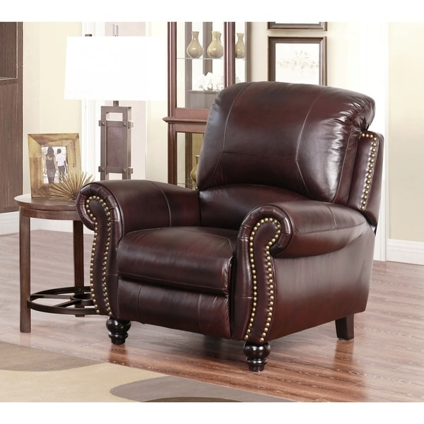 reclining armchairs living room leather sofa set for shop abbyson madison burgundy top grain pushback armchair on sale free shipping today overstock com 5072510