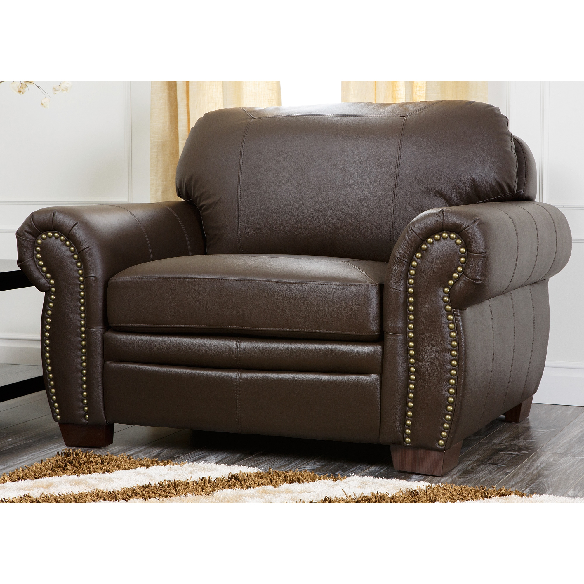Oversized Living Room Chair Abbyson Living Signature Italian Leather Oversized Chair