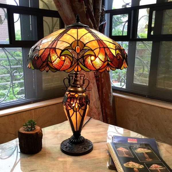 chloe tiffany style victorian design double lit 2 1 light table lamp