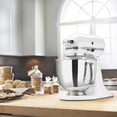White Kitchen Aid Hgtv Remodels Shop Kitchenaid Rrk150wh 5 Quart Artisan Tilt Head Stand Mixer Refurbished