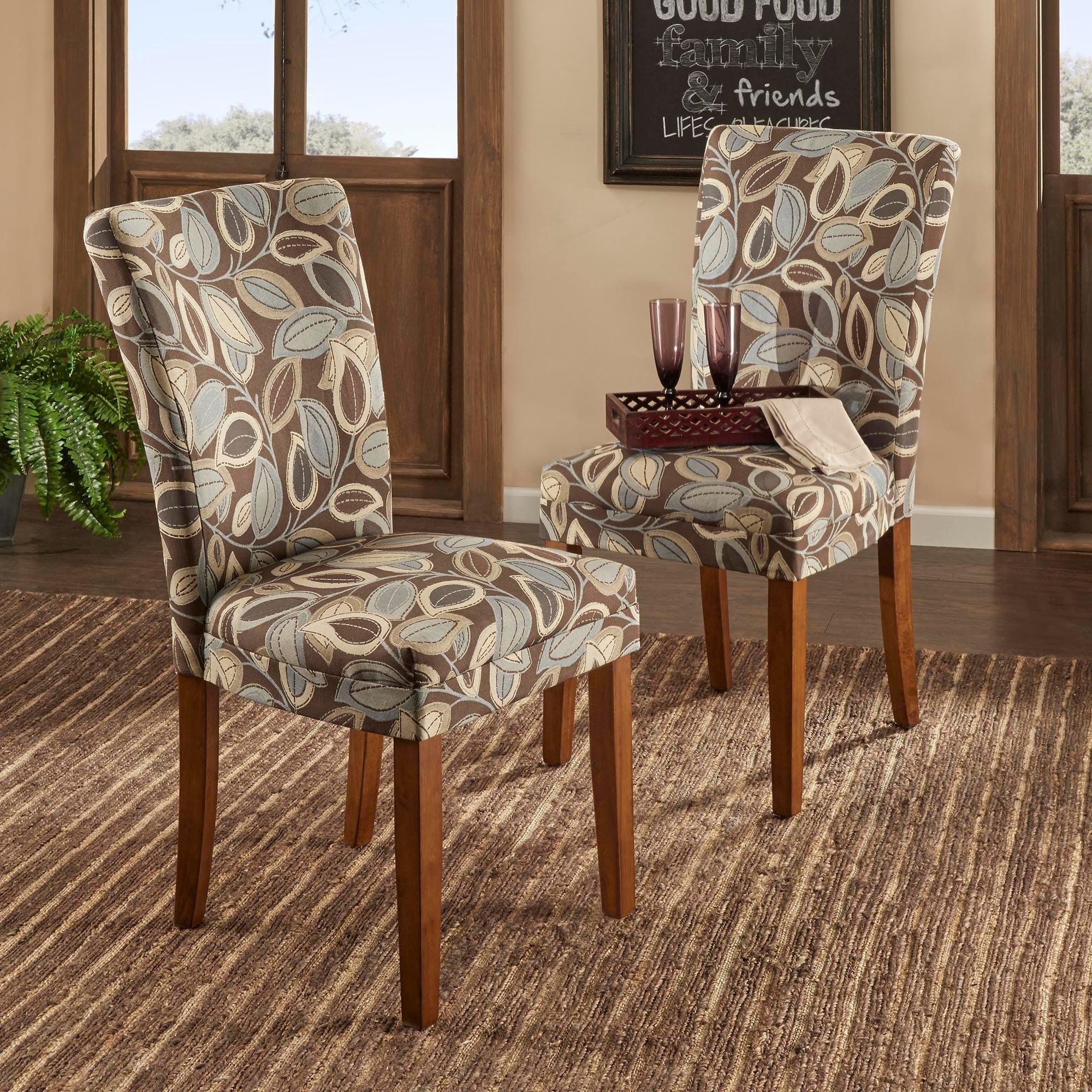 Print Parsons Chair Tribecca Home Leaf Print Accent Parson Side Chairs Set Of