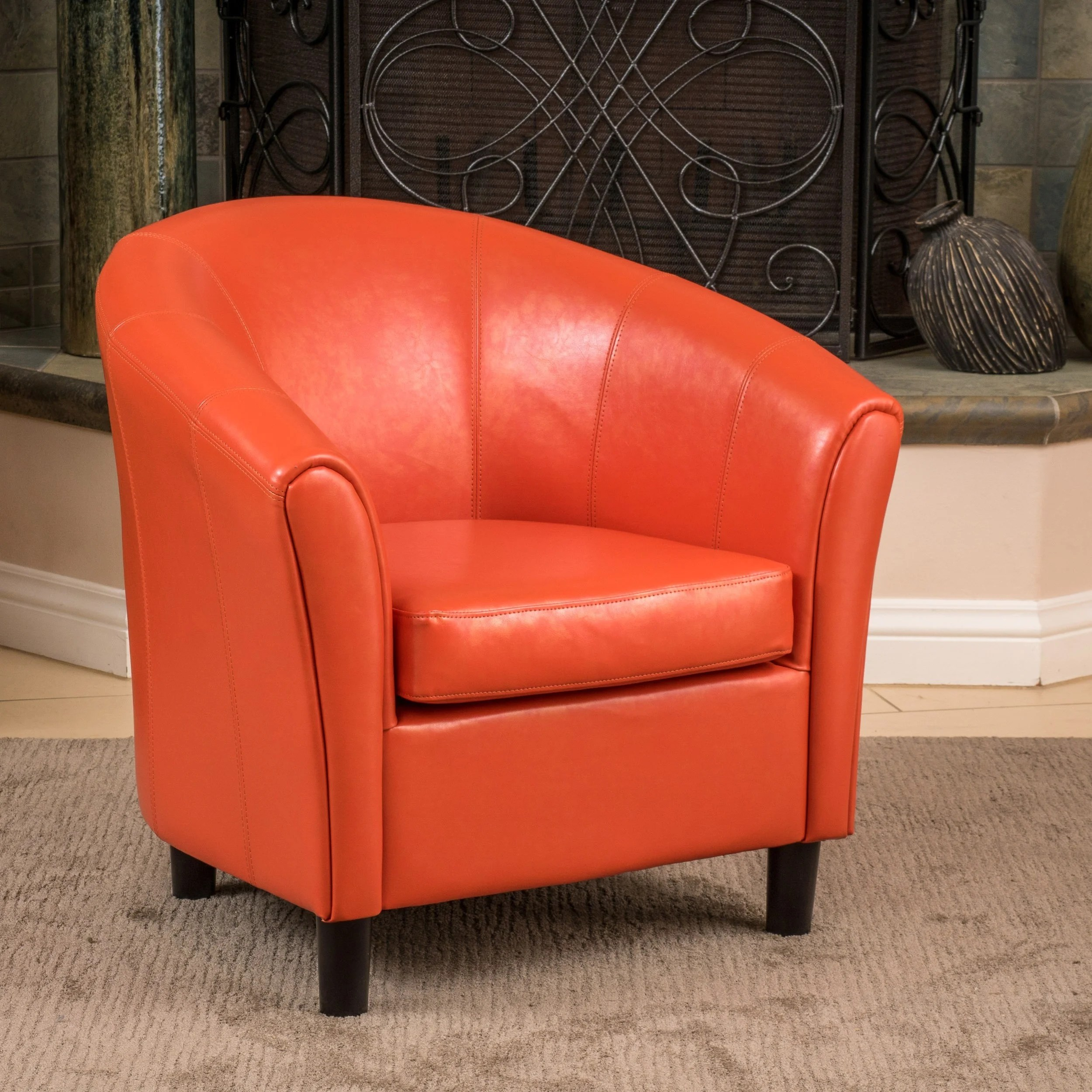 christopher knight club chair amazon lift chairs home napoli orange bonded leather