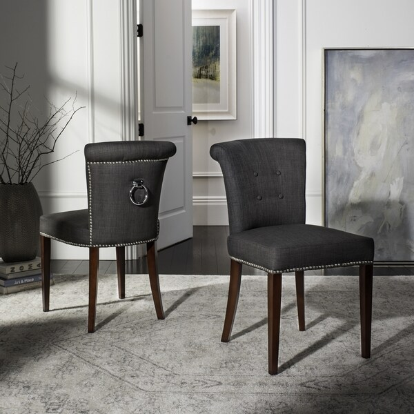 safavieh dining chairs chair box stand shop en vogue carrie charcoal grey (set of 2) - free shipping ...