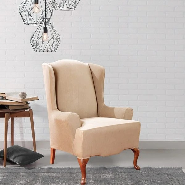 sure fit wing chair slipcover white wooden rocking outdoor shop stretch stripe free shipping