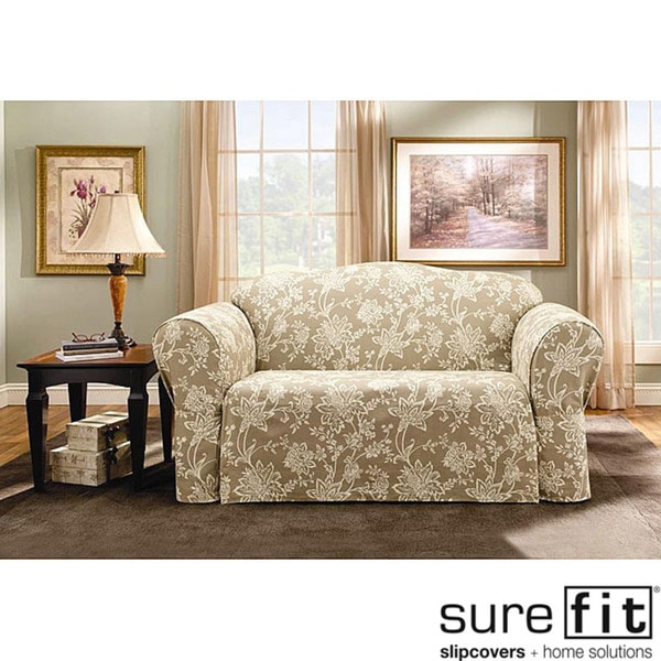 sure fit 2 piece t cushion sofa slipcover ashley claremore verona - free shipping today ...